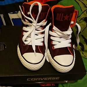 Burgundy Red White and Orange Boys Converse 10.5